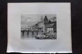 Fisher (Pub) 1844 Antique Print. Basle of the Rhine, Switzerland